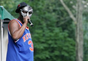 MF DOOM performing in a Knick jersey.